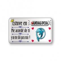 Imán souvenir resina frase rect. ciudad Andalucia