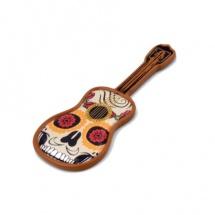 Imán souvenir guitarra resina calavera marrón