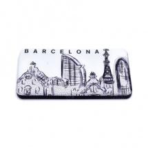 Imán souvenir resina skyline Barcelona blanco