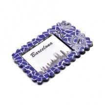 Imán souvenir sello resina Barcelona