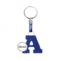 Llavero souvenir azul letra A