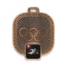 Medalla metálica con logo natación