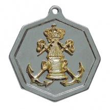 Medalla metálica redonda con escudo